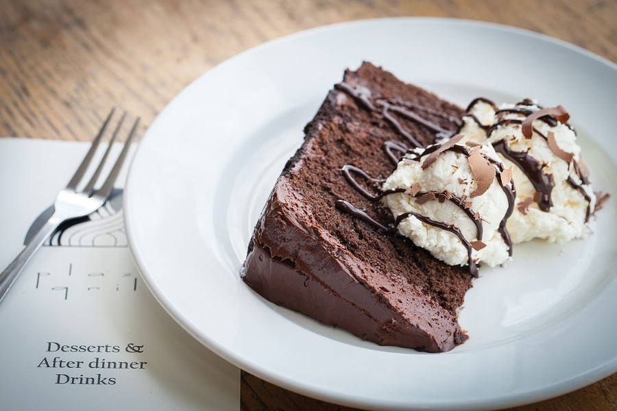 Double-fudge chocolate cake from Plaza Grill. - PHOTO BY AMY KUMLER