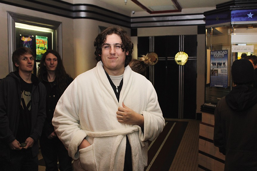 Dressed in a slightly-too-clean robe for The Dude, Michael Colburn waits in line for the Arcata Theatre Lounge's sold-out screening of The Big Lebowski.