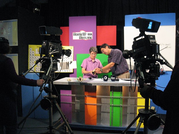 Educators Pam Halstead and Kevin Yokoyama in the KEET Studios - PHOTO COURTESY OF KEET