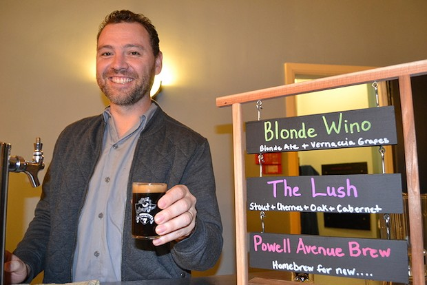 Home-brewer Justin Whitaker with a slosh of The Lush. - PHOTO BY HEIDI WALTERS