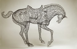 "Elizabeth Berrien's wire menagerie at Upstairs Gallery includes creatures great and small, like ""Tang Horse."""