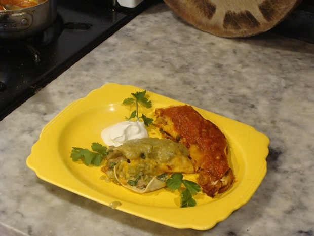 Enchiladas with Arno's green sauce and Max's red sauce. - PHOTO BY DARIUS BROTMAN