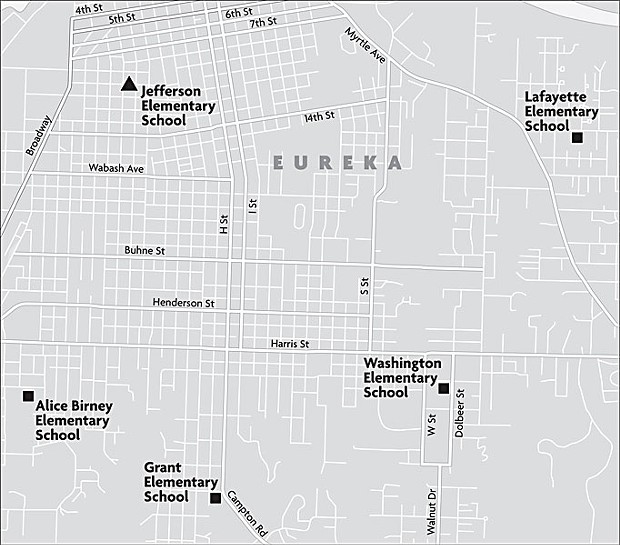 Eureka City Schools' closure of Jefferson Elementary in 2005 left the city without an elementary school in the downtown area. Map by Miles Eggleston.