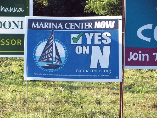 Eureka lawn signs entreat a vote for measure N. - PHOTO BY HOLLY HARVEY