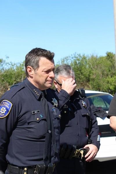 Eureka Police Chief Andrew Mills addresses the media. - THADEUS GREENSON