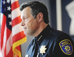 """PHOTO BY MARK MCKENNA - Eureka Police Chief Andy Mills during an Oct. 1 press conference to discuss the death of Thomas """"Tommy"""" McClain."""
