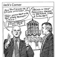 "Jack Mays Editorial Cartoons Feb. 3, 2011 -- When all state funding to California fairs was eliminated in 2011, long-time Humboldt County Fair Manager Stuart Titus was faced with a $160,000 hit to the fair association's budget. With Titus's rallying of local lawmakers to restore fair funding, Jack Mays thought it only appropriate if California Governor Jerry Brown received a ""sure-bet"" tip at fairtime. Cartoon by Jack Mays and explanation by Caroline Titus, courtesy of The Ferndale Enterprise"