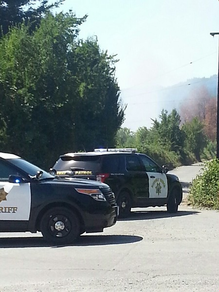 Law enforcement has closed Marshall Lane and State Route 96 in Hoopa as multiple agencies continue to battle a fire in a residential area. - COURTSEY OF THE HOOPA VALLEY TRIBE