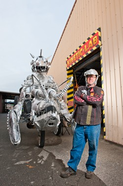 PHOTO BY MUIR ADAMS - Flatmo has updated his lobster, complete with fire-breathing demon, for this year's Kinetic Grand Championship.