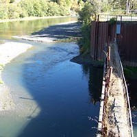 Cup Runneth Over For decades, water from Mad River has been diverted into the pump station at Essex, through a series of fish screens, and delivered by pipe to the Samoa Peninsula to supply the pulp mills. Now all the water runs past. Photo by Heidi Walters