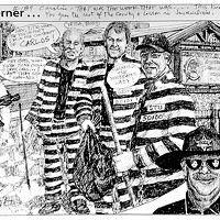 "Jack Mays Editorial Cartoons Former Ferndale City Councilman Carlos Benemann, far right, filed a temporary restraining order against fellow councilman Stuart Titus, third from left, demanding that he and his ""associates"" stay six feet away from him because Titus called him and swore at him over a council issue. Jack Mays saw the absurdity in Benemann's TRO, which was eventually denied by the court and Benemann was forced in a SLAPP (Strategic Litigation Against Public Participation) brought by Titus to pay Titus $12,000 in legal fees. (Also featured, from the left: Jeff Farley, Andy Doerner, Lino Mogni, James Moore, former Ferndale Police Chief Lonnie Lawson and Richard Hooley.) Mays addressed a personal note to Caroline Titus: ""Caroline, that was the week that was ... the best En2006 terprise ever. You gave the rest of the county a lesson in journalism. -- Jack."" Cartoon by Jack Mays and explanation by Caroline Titus, courtesy of The Ferndale Enterprise"