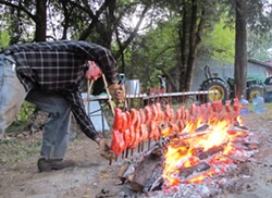 PHOTO BY MALCOLM TERENCE - Frank Lake positions stakes with Chinook salmon fillets around a hot bed of madrone coals in a small grove between the MKWC building and the Klamath River.