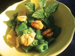 PHOTO BY JADA CALYPSO BROTMAN - Fried paneer is tasty on peas with mint, too.