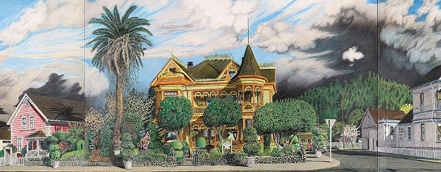 Gingerbread Mansion, detail from Berding Street panorama, colored pencil