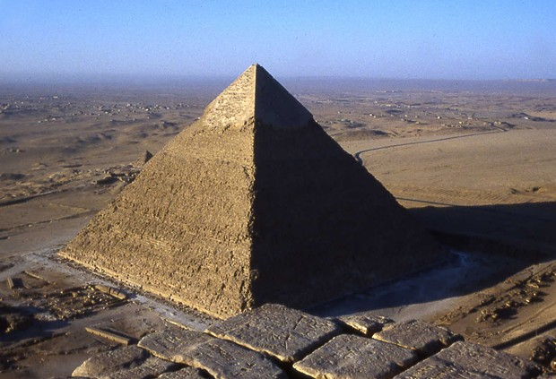Giza, Egypt: looking southwest from the top of the Great Pyramid of Cheops/Khufu, now 455 feet high, toward that of his son Khafre. The Great Pyramid was the tallest structure in the world for nearly 4,000 years. - PHOTO BY BARRY EVANS