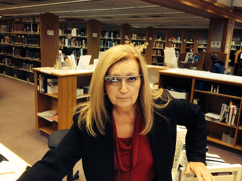"""You have overdue fees."" Humboldt County Librarian Kitty Yancheff sports a pair of pre-release Google Glasses. - SHANE MIZER"