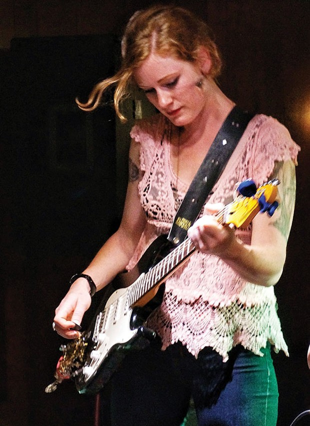 Guitarist Aimee Taylor of The Los Luvs cuts loose at the Eureka Inn's Palm Lounge on a lucky Friday the 13th. - PHOTO BY BOB DORAN