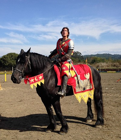 "He might be the Red Knight, but the crowd cheered him on as ""Sir Hotpants."" - JENNIFER FUMIKO CAHILL"