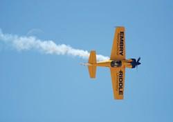 "Herman Bouler's ""Knife Edge"" at Silver Linings captures Matt Chapman piloting an Eagle-580 at the Tucson Air Show."