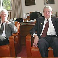 Campus In Crisis HSU President Rollin Richmond, right, and interim Provost Bob Snyder.