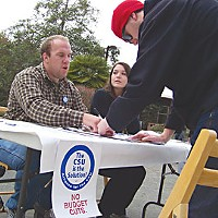 HSU Students Tony Snow, left, and Angela Pine gather signatures protesting proposed CSU budget cuts on the HSU quad last week.