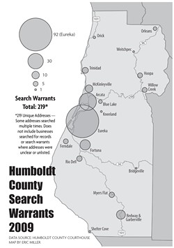 DATA SOURCE: HUMBOLDT COUNTY COURTHOUSE. MAP BY ERIC MILLER - Humboldt County Search Warrants 2009