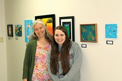 PHOTO BY KEN WEIDERMAN. - In the gallery with Justine Smith and student Kayla Templeton.