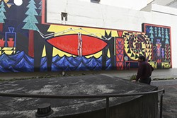 "PHOTOS BY DREW HYLAND - ""Indian Island - The Sun Set Twice on the People"". See mural #27 on map."
