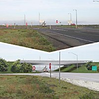 The COG and the Machine Indianola Cutoff as it is today (top) and a computer-generated image of the proposed Caltrans overpass (bottom).
