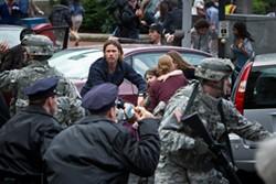It's Brad Pitt's rugged good looks against the zombie apocalypse.