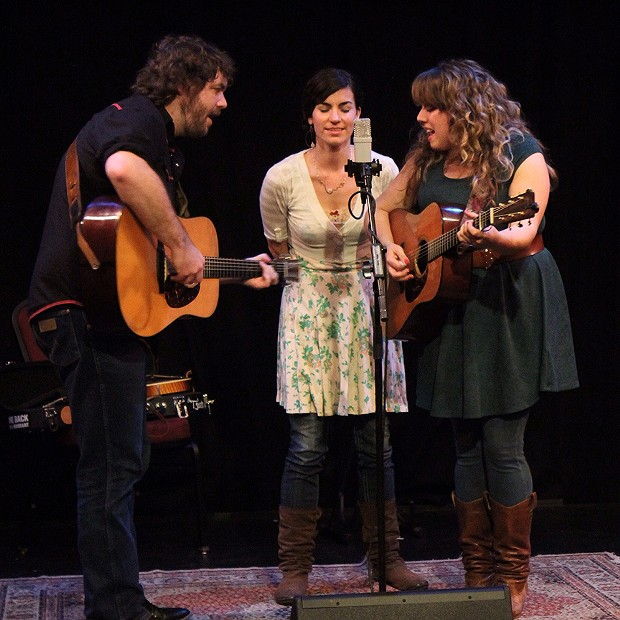 Jacob Groopman and Melody Walker are joined by Melody's old bandmate Lauren Norgeot (center) singing sweet harmony at the Arcata Playhouse on March 7.  - PHOTO BY BOB DORAN