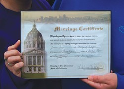 PHOTO BY HEIDI WALTERS - Jamara and Camryn Indigo's marriage certificate.