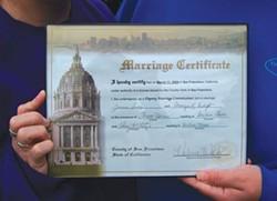 PHOTO BY HEIDI WALTERS - Jamara and Camryn Indigo's marriage certificate.