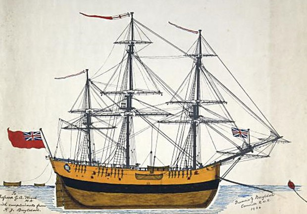 James Cook's 370-ton bark Endeavour, launched 1764, scuttled 1778. (Public domain.)
