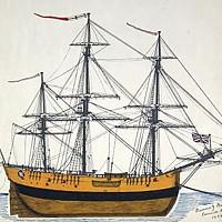 James Cook's 370-ton bark Endeavour, launched 1764, scuttled 1778. (Public domain.)