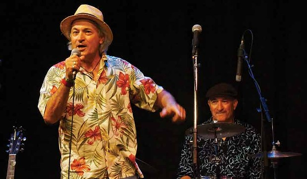 """Jeff DeMark and his twin brother, Paul, of The Gila Monsters, told summer stories with """"songs and wild left turns"""" in Acting on a Dream, Again! presented Sunday, Aug. 24, at the Arcata Playhouse. - PHOTO BY BOB DORAN"""