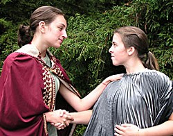 Jessica Knapp as King Henry IV and Sazi Bhakti as Prince Hal. Photo courtesy North Coast Prep.