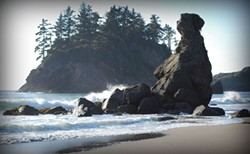 """Jessica Swanlund's sea-misted """"Mother Rock"""" and other photographs are at Curves this week."""