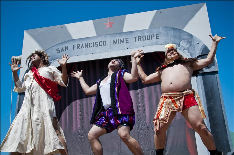Jesus (Michael Gene Sullivan), Nostradamus (Cory Censoprano) and a Mayan Priest (Victor Toman) party, party, party in anticipation of the impending apocalypse - PHOTO BY FLETCHER OAKES