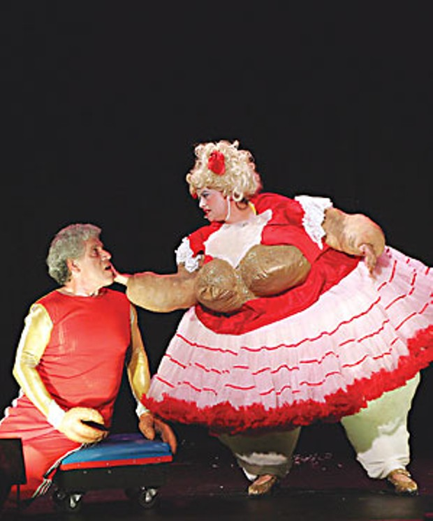 Jim Griffiths as Crawdaddy and Jackie Dandeneau as his wife, The Fat Lady, in 'Crawdaddy: A Freak Tragedy,' playing this weekend at the Arcata Playhouse. Photo by Carol Eckstein.