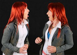 PHOTO BY SECOND GLANCE PHOTOGRAPHY - Joan Schirle plays twins, both named Antiphola, in Dell Arte's Comedy of Errors.