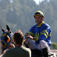 Eight Days at the Races Jockey Danny Boag in the winner's circle after a race in 2008.