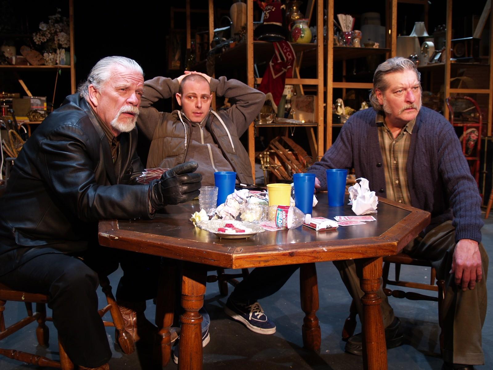 "Joel Agnew as Teach, Josh Kelly as Bob, James as Don in NCRT's ""American Buffalo"" - PHOTO COURTESY OF NCRT"