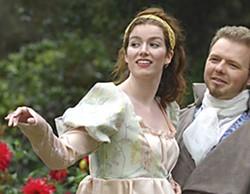 "Johanna Hembry as Hermione and Calder Johnson as Leontes in the HSU Production of Shakespear's ""The Winer's Tale."""