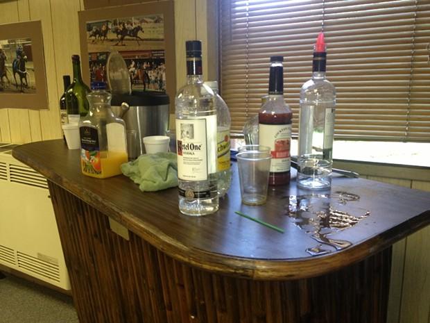 The bar top at a Fair Board meeting earlier this year. - COURTESY CAROLINE TITUS