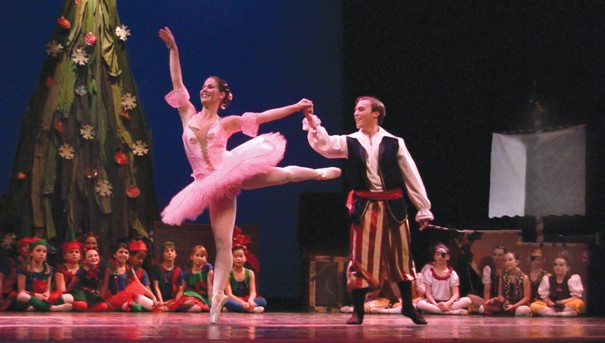 Julie Ryman dancing the role of Ballerina Doll and Kyle Ryan dancing the role of Pirate King in 'Twas the Night Before Christmas. - PHOTO BY MAIA CHELI-COLANDO