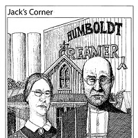 Jack Mays Editorial Cartoons July 2, 2009 -- The Grant Wood painting, American Gothic, only seemed fitting as Ferndale watched the demise of Humboldt Creamery. Local dairy farmers Kathleen and Dennis Leonardi fit the role perfectly as they watched the 80-year-old cooperative, that Leonardi's father helped form, dissolve. Cartoon by Jack Mays and explanation by Caroline Titus, courtesy of The Ferndale Enterprise