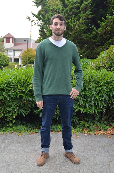 Junior Ian Fitzgerald is studying business administration and wearing the classics: Levi's, Clarks and a Gap sweater. - PHOTO BY SHARON RUCHTE
