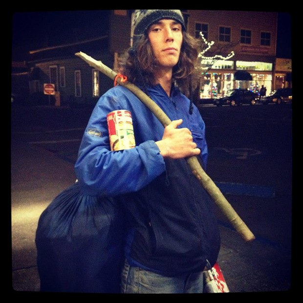 Kai the Homefree Hitchhiker on the Arcata Plaza earlier this year. - BY ANDREW GOFF