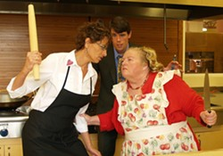 PHOTO COURTESY OF NCRT - Kathy Marshall as Isobel, Daniel Kennedy as Stephen, Laura Rose as Dolly in NCRT's Kitchen Witches